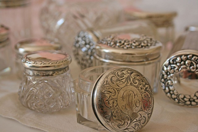 antique sterling topped jars!