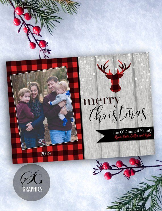 Rustic Buffalo Plaid Photo Printable Holiday Card Etsy Printable Holiday Card Christmas Cards Holiday Cards