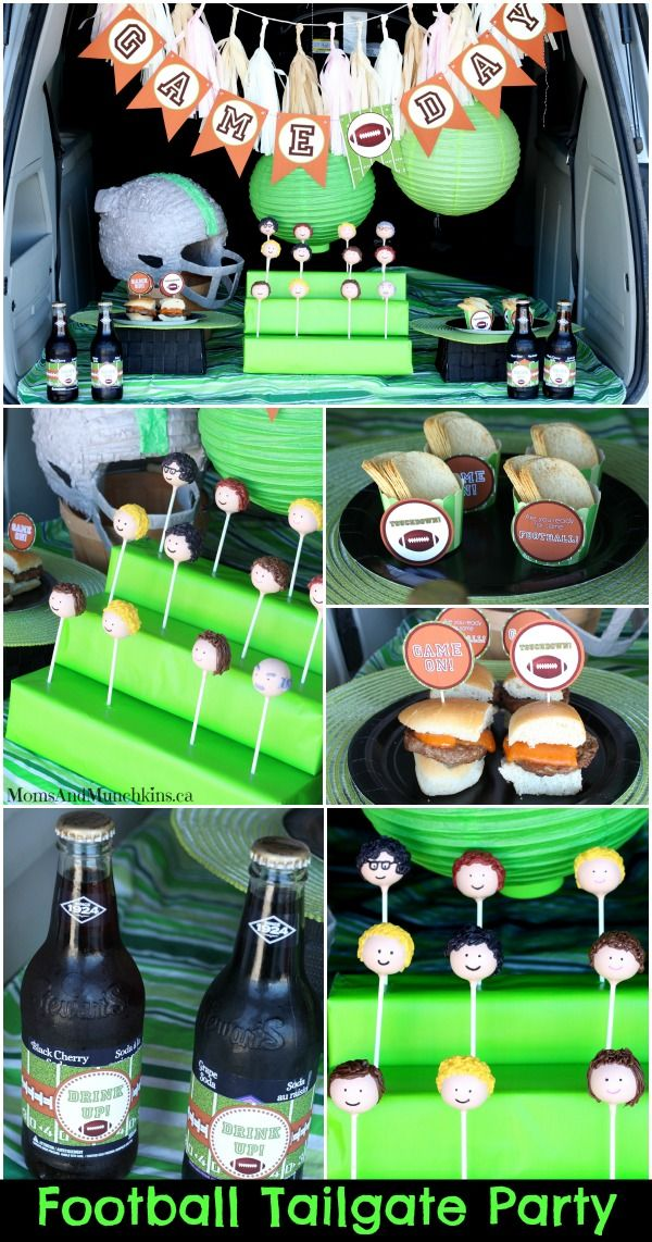 Football Tailgate Party - a fun way to involve the entire family in the football game celebrations. This tailgate party includes a link to creative printables as well as the most adorable football fan cake pops!