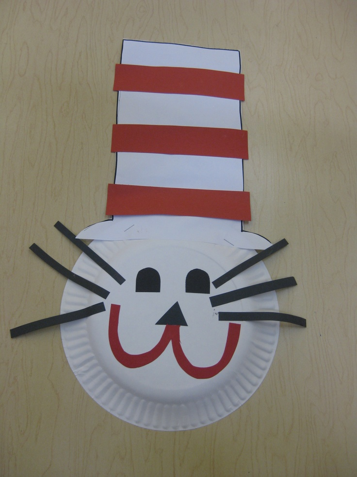 "Dr. Seuss ""Cat in the Hat""art project- paper plate, white, red and black construction paper, scissors, glue"