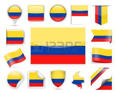 Colombia Flag color Set - Vector Illustration