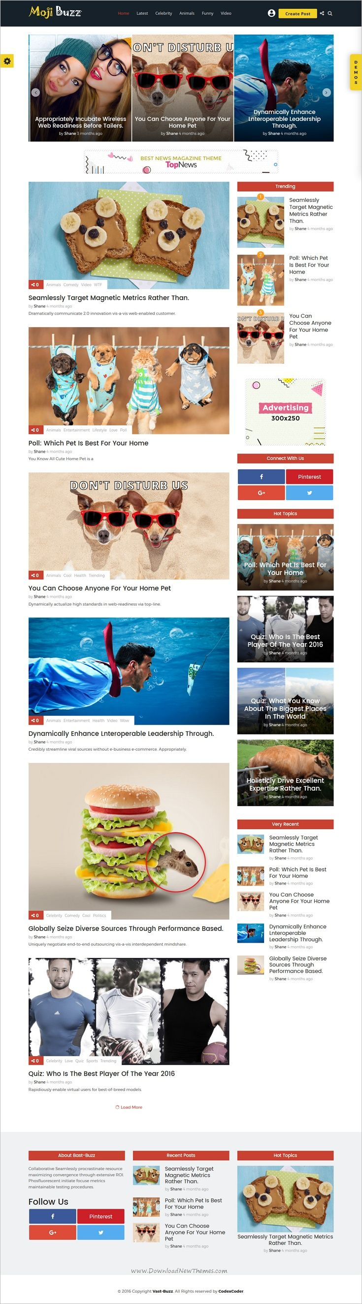 Vast buzz is unique, modern and flat design #WordPress theme for #webdev viral news and magazine websites with 9 homepage layouts to create list, meme, quiz, pool, video, audio, gallery news easily download now➩  https://themeforest.net/item/vast-buzz-viral-buzz-wordpress-theme/19287621?ref=Datasata