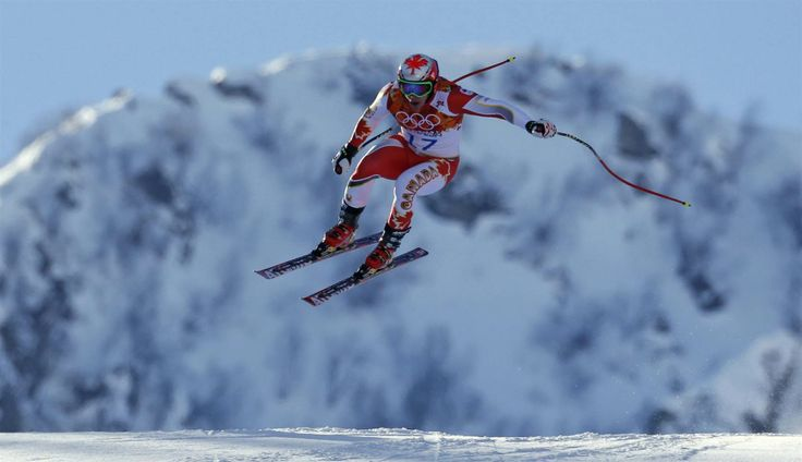 Canada's Erik Guay goes airborne in a training session for the men's alpine skiing downhill race.