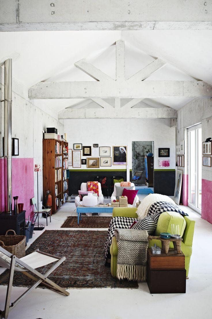 .Decor, Open Spaces, Colors, Livingroom, Bohemian Living, Interiors Design, Living Room, House, White Wall