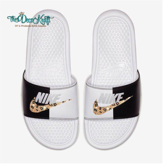 e25227a9f1 Nike Benassi Slides Sandals White Black White Pure Platinum Custom Bling  Leopard Pattern Crystal Swarovski Flip Flops