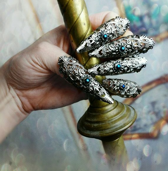 Gothic Nail Rings Nail Armor Fierce Filigree by ravenevejewelry