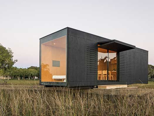 MINIMOD House by MAPA in Rio Grande do Sul, Brasil, showcases this prefab, steel-framed 27sqm modular system that can be configured for anything from an event space to a standalone tiny home, or combined, two or more, to meet any building needs.