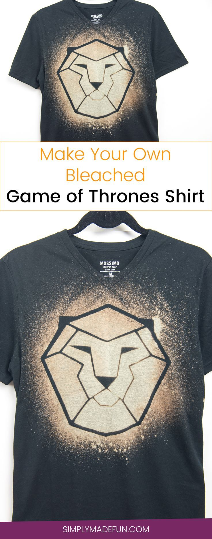 Bleached Game of Thrones Shirt | Bleached Shirt | Freezer Paper DIY | Bleached T-Shirt | Game of Thrones Shirt | Game of Thrones DIY | Silhouette Cameo Crafts