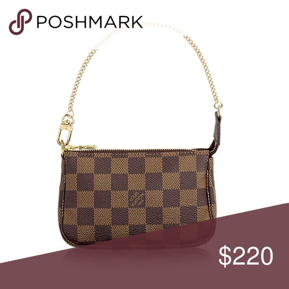 Real Brown Louis Vouitton Mini Pouchette Wristlet 100% authentic Louis Vouitton Brown Checkered Pouchette  Gold Chain Perfect condition on outside, just some discoloration on the bottom of the inside (pictured) Box and dustbag not included Louis Vuitton Bags Clutches & Wristlets