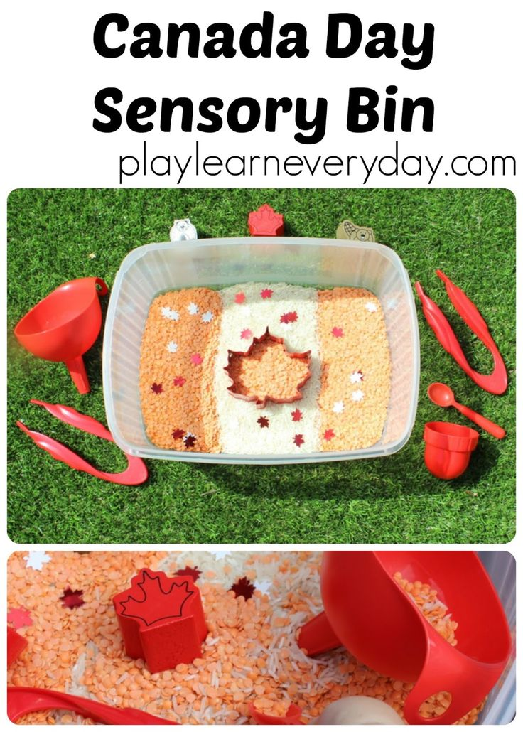 A simple and quick to set up sensory bin for young children and toddlers to play with and explore to celebrate Canada Day.