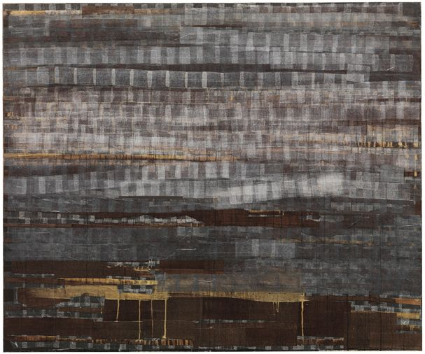 """Mark Bradford / """"Smokey"""", 2003; billboard paper, photomechanical reproductions, acrylic gel medium, permanent-wave end papers, and additional mixed media on canvas; 60 x 72 inches"""