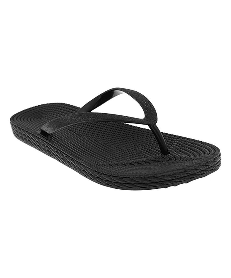 Take a look at this Capelli New York Black Glitter-Strap Flip-Flop today!