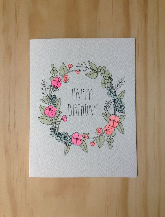 Happy Birthday Floral Wreath ~ Card