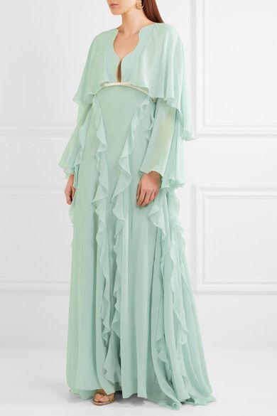 Giambattista Valli - Cape-back Ruffled Silk-georgette Gown - Mint - IT42