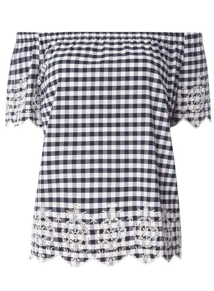 Womens Gingham Broidery Bardot Top- Blue