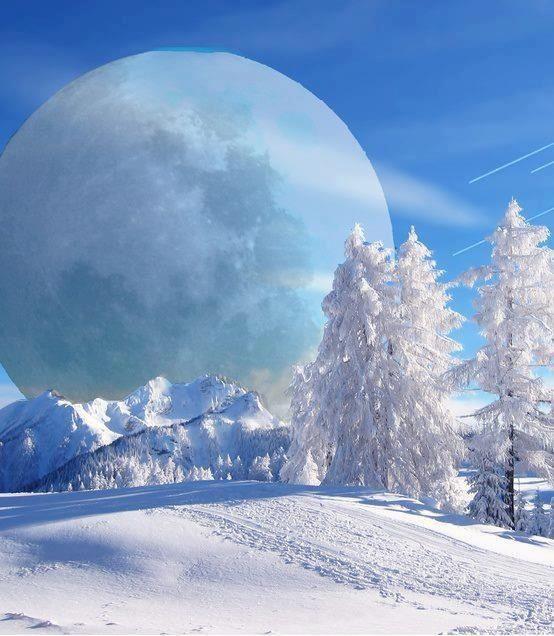 Beautiful snow scene! And the beautiful moon .