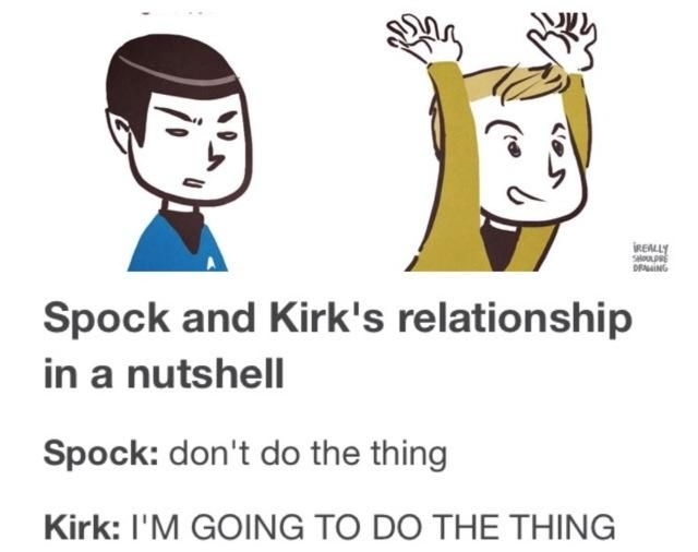 So true especially since you know that Spock's either going to be A. doing the thing right along with him or B. cleaning up after Kirk does the thing.