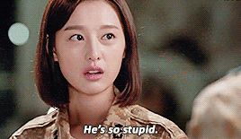 Ep - He just holds my arms or shoulders. He's so stupid ~ Couldn't agree more #descendants of the sun #kim ji won #jin goo #song joong ki