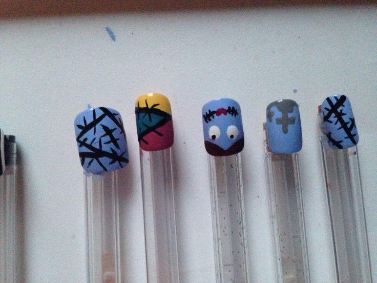 Nightmare before Christmas nails!!  Sally nail art