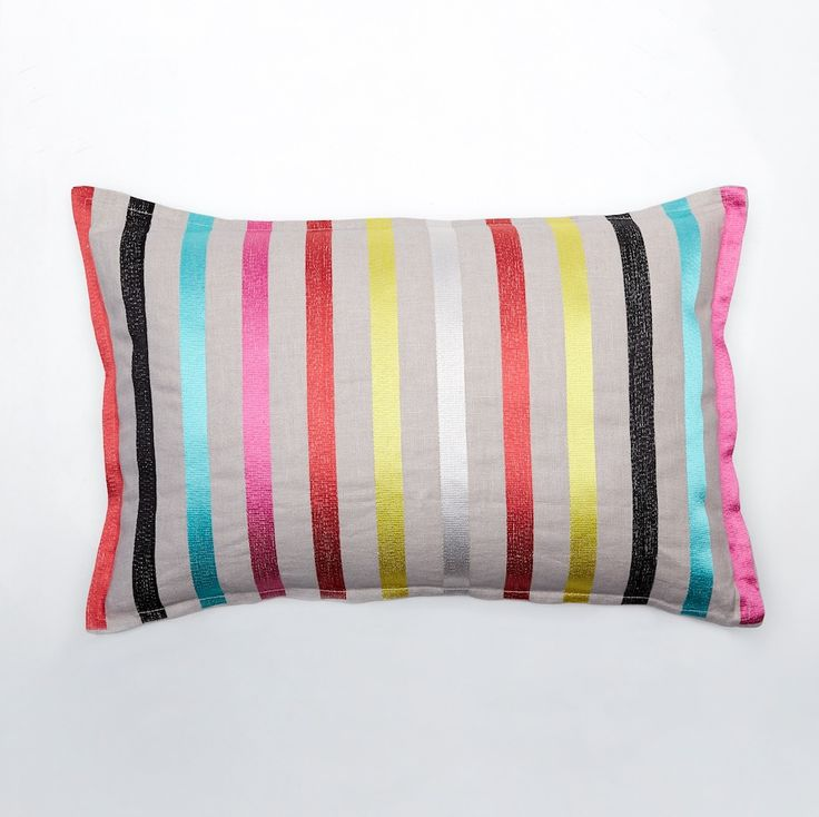 Pencil Stripes Cushion, Multi-coloured on Linen, 55x35cm, Feather Filled - NEW LUXOTIC DESIGN - Buy It Now! - LUXOTIC
