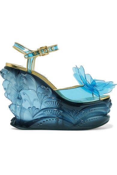 Miu Miu - Leather-trimmed Appliquéd Pvc And Plexiglas Wedge Sandals - Light blue - IT