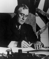 "March 5, 1933 – President Franklin D. Roosevelt declares a ""bank holiday"", closing all U.S. banks and freezing all financial transactions during The Great Depression."