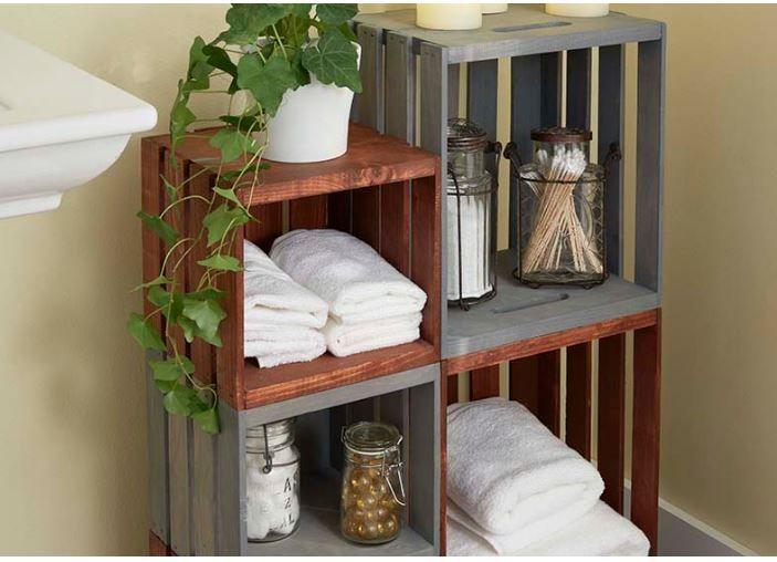 DIY PROJECT: Wooden Crates into Rolling Bathroom Storage