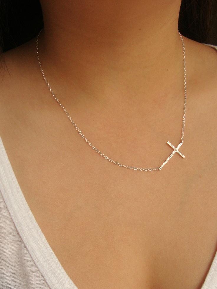 Hammered Rose Gold on 925 Sterling Silver Celebrity-adored Sideways Cross Necklace. $35.00, via Etsy.
