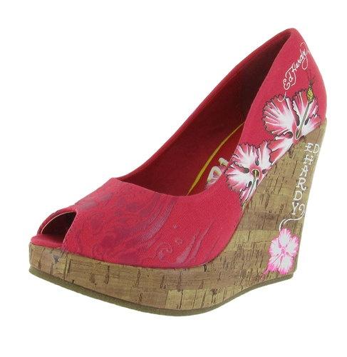 ED HARDY Christian Audigier Coralie Hibiscus Tattoo Wedge Platform Womens Shoes 884456256415 | eBay