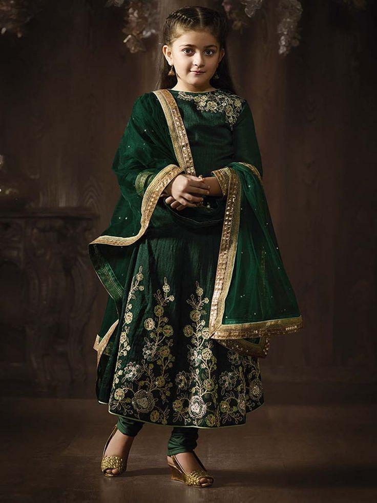 Make your girl look elegant in this dark green color anarkali suit.  Item Code : KDSRA8075 http://www.bharatplaza.com/kids/girls.html