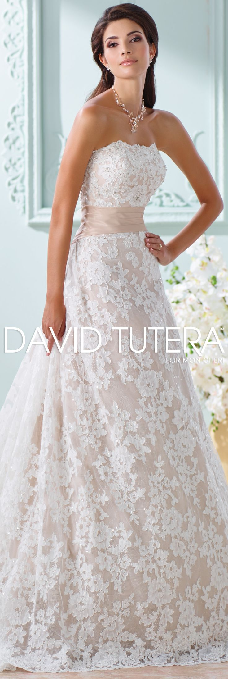 The David Tutera for Mon Cheri Spring 2016 Wedding Gown Collection - Style No. 116219 Yalene #laceweddingdresses