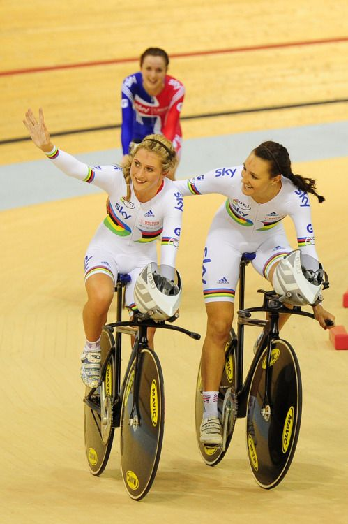 womenscycling:  UCI Track Cycling World Cup Glasgow - Day 1 (by britishcycling.org.uk photos) Laura Trott, Dani King and Elinor Barker, after winning the Team Pursuit More photos of Day 1 on British Cycling's flickr