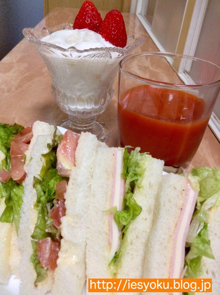2015/5/8 朝食 自家製食パンで野菜とハムチーズのサンドイッチ