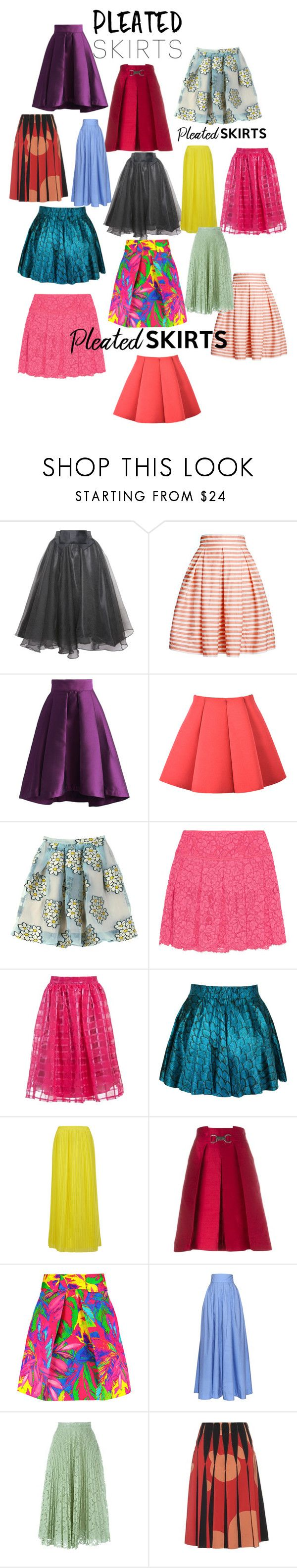 """""""PLEATED SKIRTS"""" by mandimwpink ❤ liked on Polyvore featuring Relaxfeel, Rumour London, Chicwish, RED Valentino, DKNY, Sans Souci, BOSS Orange, CÉLINE, Milly and Rosie Assoulin"""