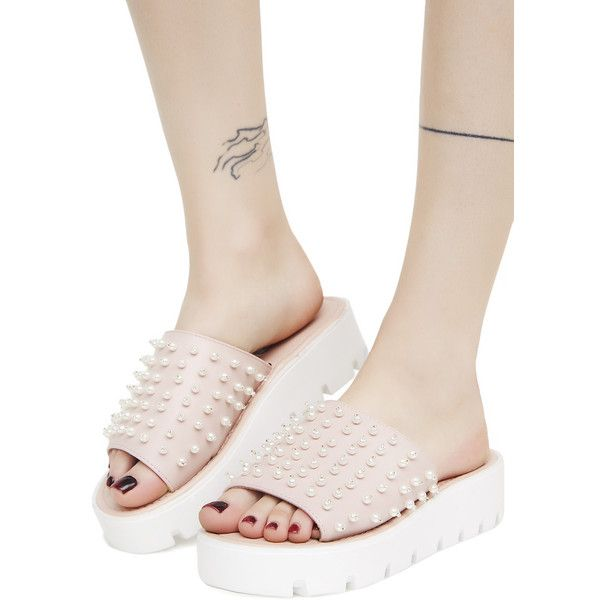 Pink Beaded Platform Slide Sandals ($11) ❤ liked on Polyvore featuring shoes, sandals, pink, wide width platform sandals, pink slide sandals, dressy sandals, platform slide sandals and pink platform shoes