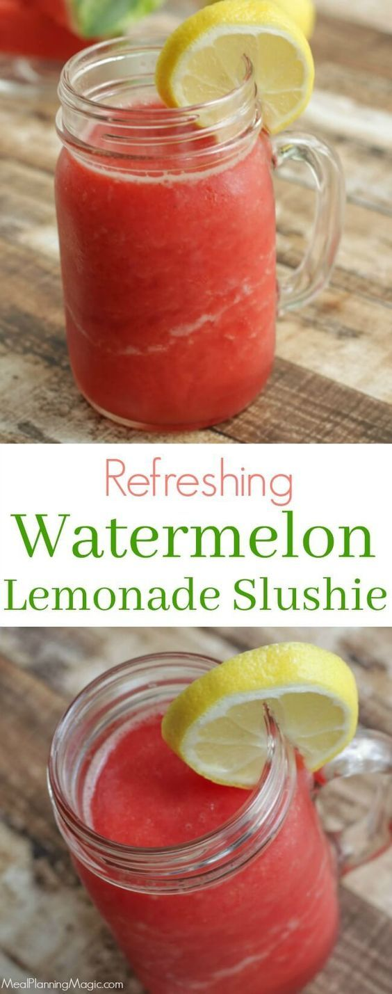 Super simple Refreshing Watermelon Lemonade Slushie is a great way to use up leftover watermelon. Best of all, it's make ahead so enjoy anytime! Get the recipe at MealPlanningMagic. com