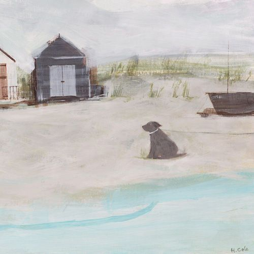 Beach & Hut & Dog print by Hannah Cole - WorldGallery.co.uk