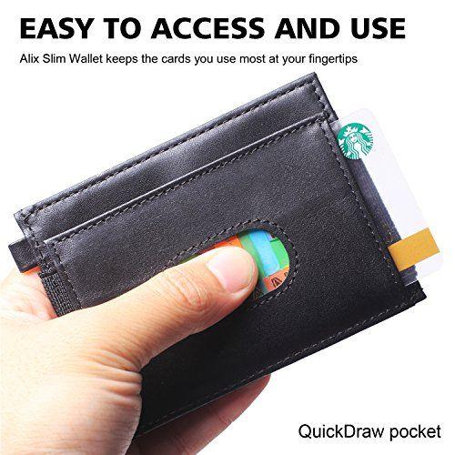 fa398ef1fc7c Ultra Slim Minimalist Front Pocket RFID Blocking Leather Wallets for ...