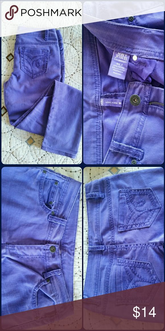 Purple Skinny Jeans Purple skinny jeans with decorative stitched back pockets. Good used condition. Bundle and save! HWY  Jeans Jeans Skinny
