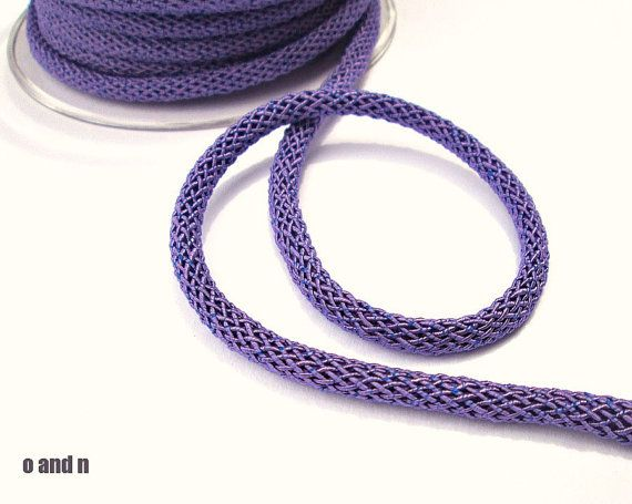 Purple braided silk cord bookbinding rope thick cord  6mm by OandN #craftsupplies #cord #rope #jewelrymaking