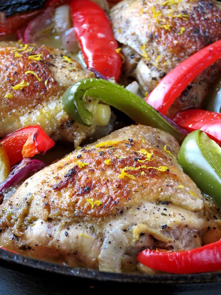 Oven Baked Lemon Pepper Chicken Thighs | yummyaddiction.com