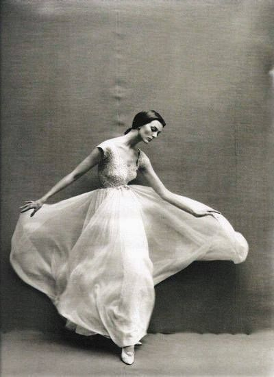 Carmen Dell'Orefice in a dress by Pierre Cardin, 1957,  Richard Avedon for Vogue