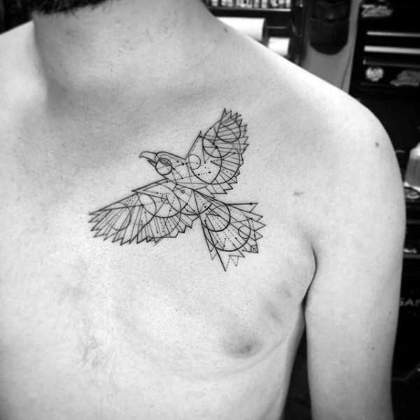 Geometrical Fine Lines Mens Eagle Upper Chest Tattoo Chest Tattoo Men Dragon Tattoo Designs Tattoo Designs Men