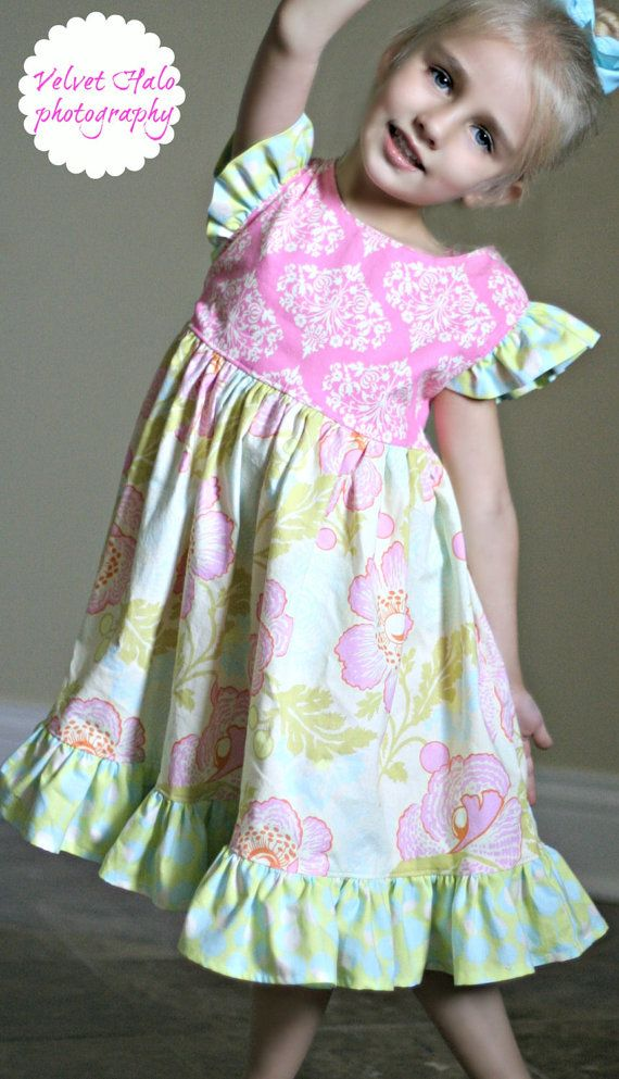 SALE...Buy 2 Get 1 Free...Instant Download PDF Sewing Pattern Tutorial Antique Fair Girls Vintage Style Flutter Sleeve Dress, 6-12 mto 12--- ties in the back