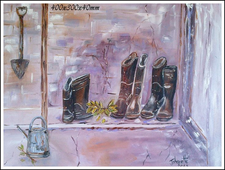 44Gumboots Oil Stretched Canvas 400x300x40mm