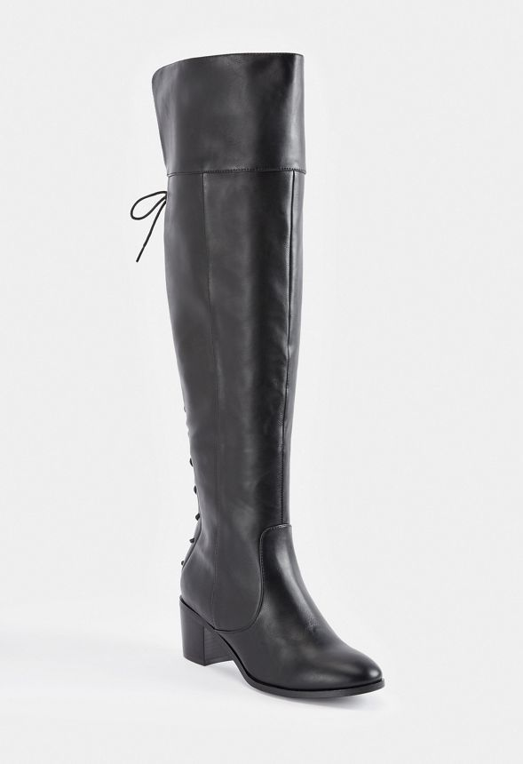 01b907a7663 Athena Lace-Back Tall Boot in Black - Get great deals at JustFab ...