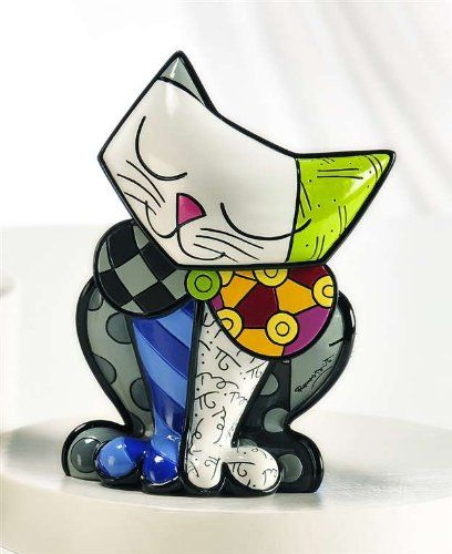 Limited Edition Romero Britto Cat Figurine Happy Cat * Click on the image for additional details.