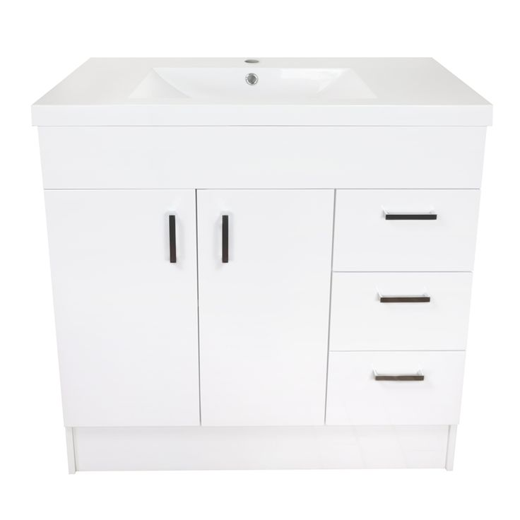 might be cheap, but its a nice looking vanity, and cheap I like lol!   Estilo 900mm Vinyl Wrap Freestanding Vanity Cabinet