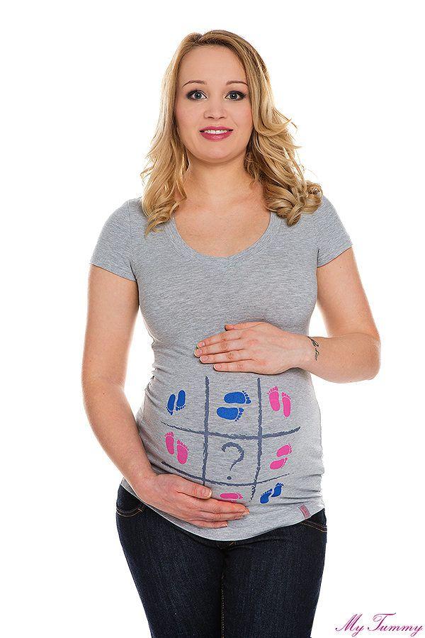 T-shirt ciążowy Stópki szary