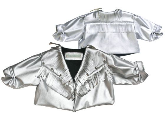 Silver Fringed Jacket Faux Leather Baby by MollylovesBowieKIDS